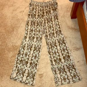 Green beige Silver and cream wide leg pants